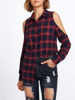 Open Shoulder Checked Blouse
