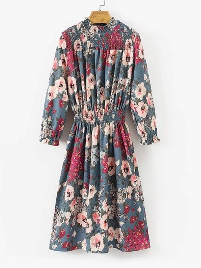 Lettuce Edge Shirred Detail Floral Dress