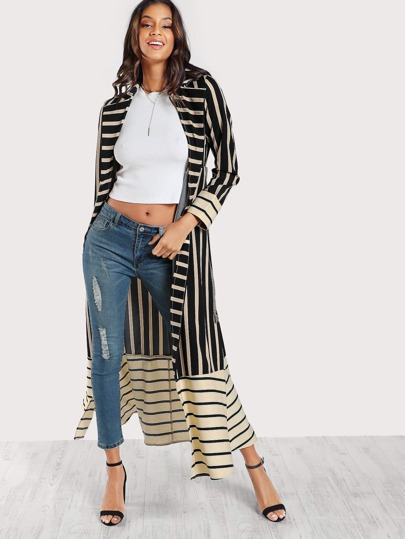 Striped Longline Lightweight Trench Coat BLACK