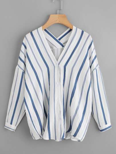 V Neckline Drop Shoulder Striped Shirt