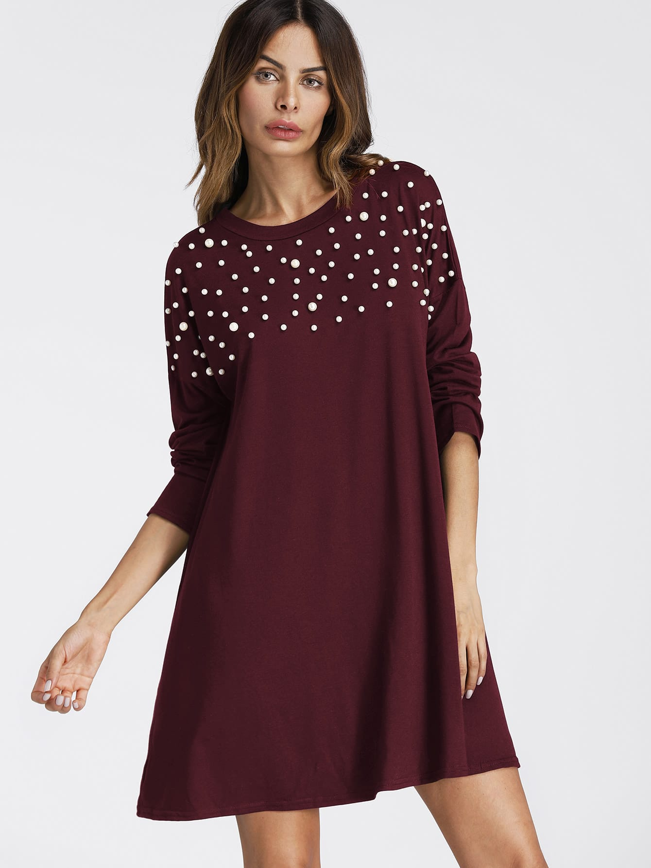 все цены на Pearl Beading Drop Shoulder Tee Dress