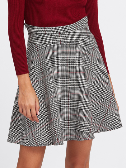 Zip Side Plaid Circle Skirt