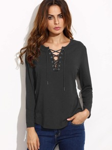 Lace Up V Cut Curved Hem T-shirt