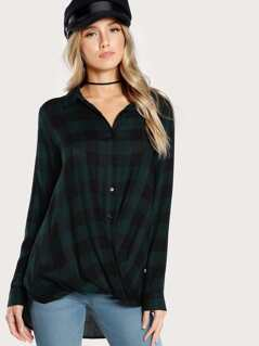 Plaid Print Long Sleeve Front Twist Button Up Top GREEN