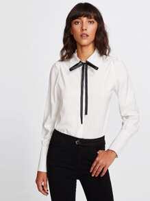 Self Tie Bow Shirt