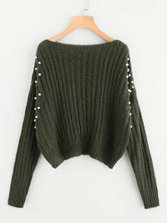 Pearl Embellishing Mixed Knit Jumper