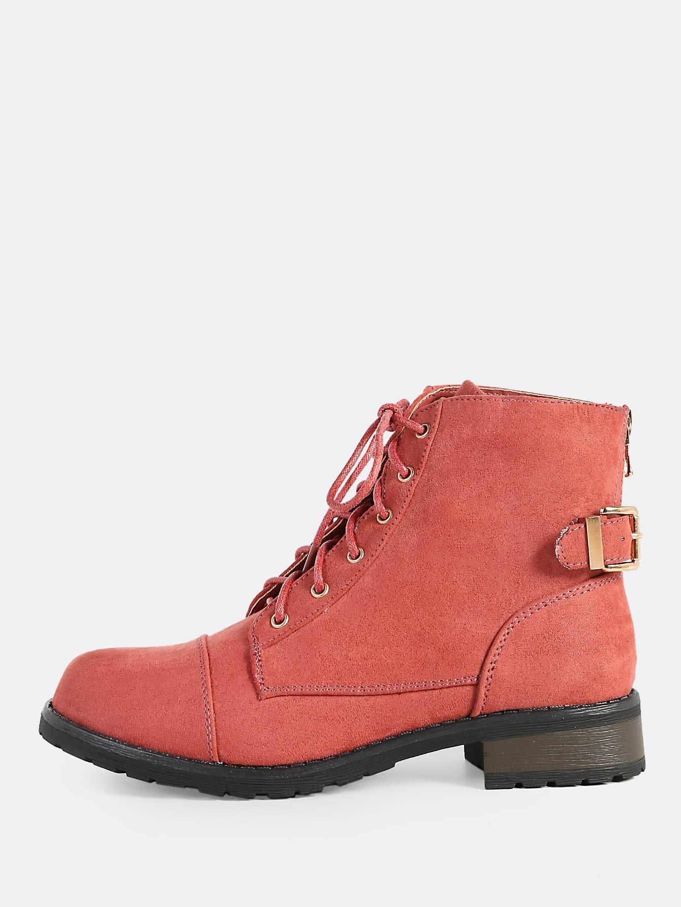 lace up faux suede combat boots mauve makemechic