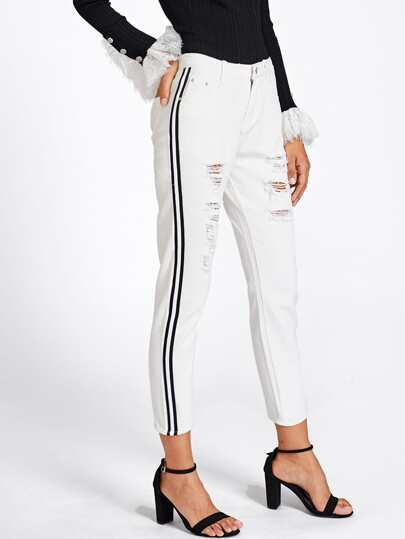 Contrast Stripe Side Ripped Jeans