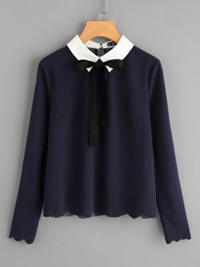 Contrast Collar Tied Detail Scallop Trim Blouse