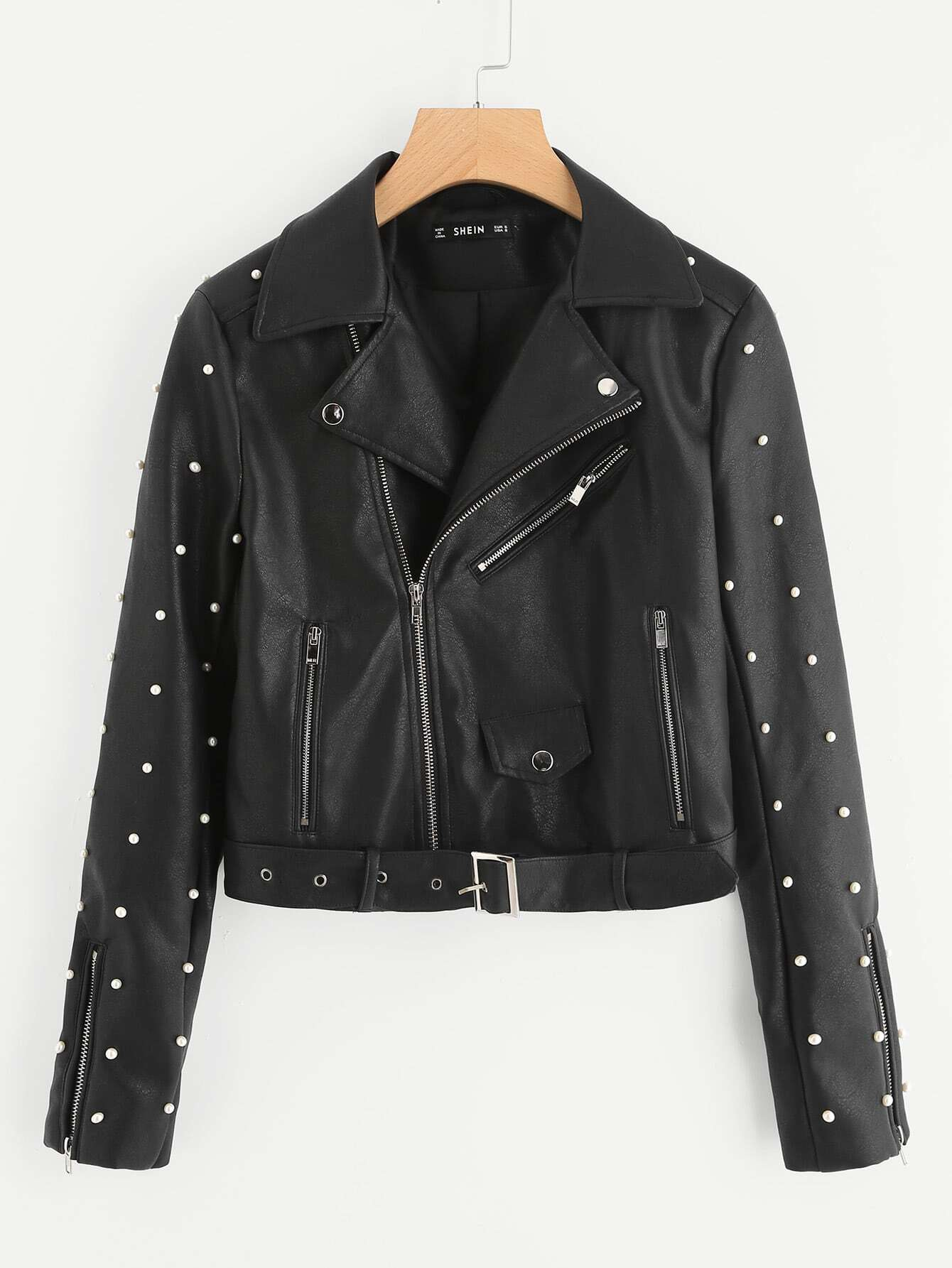 Belted Hem Rivet Detail Faux Leather Biker Jacket