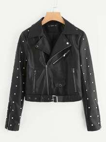 Belted Hem Rivet Detail Faux Leather Biker Jacket