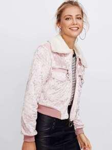 Contrast Fluffy Lapel Velvet Jacket
