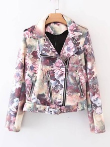 Belted Floral Suede Jacket