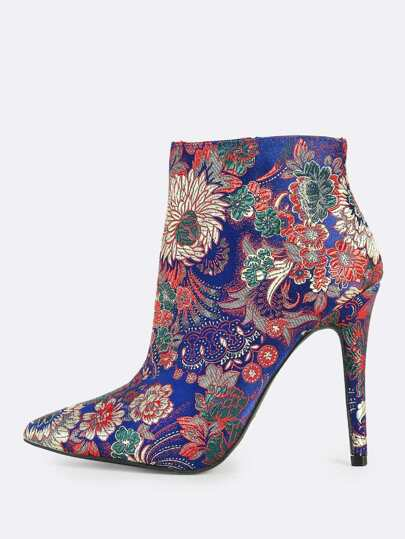 Floral Print Point Toe Booties BLUE