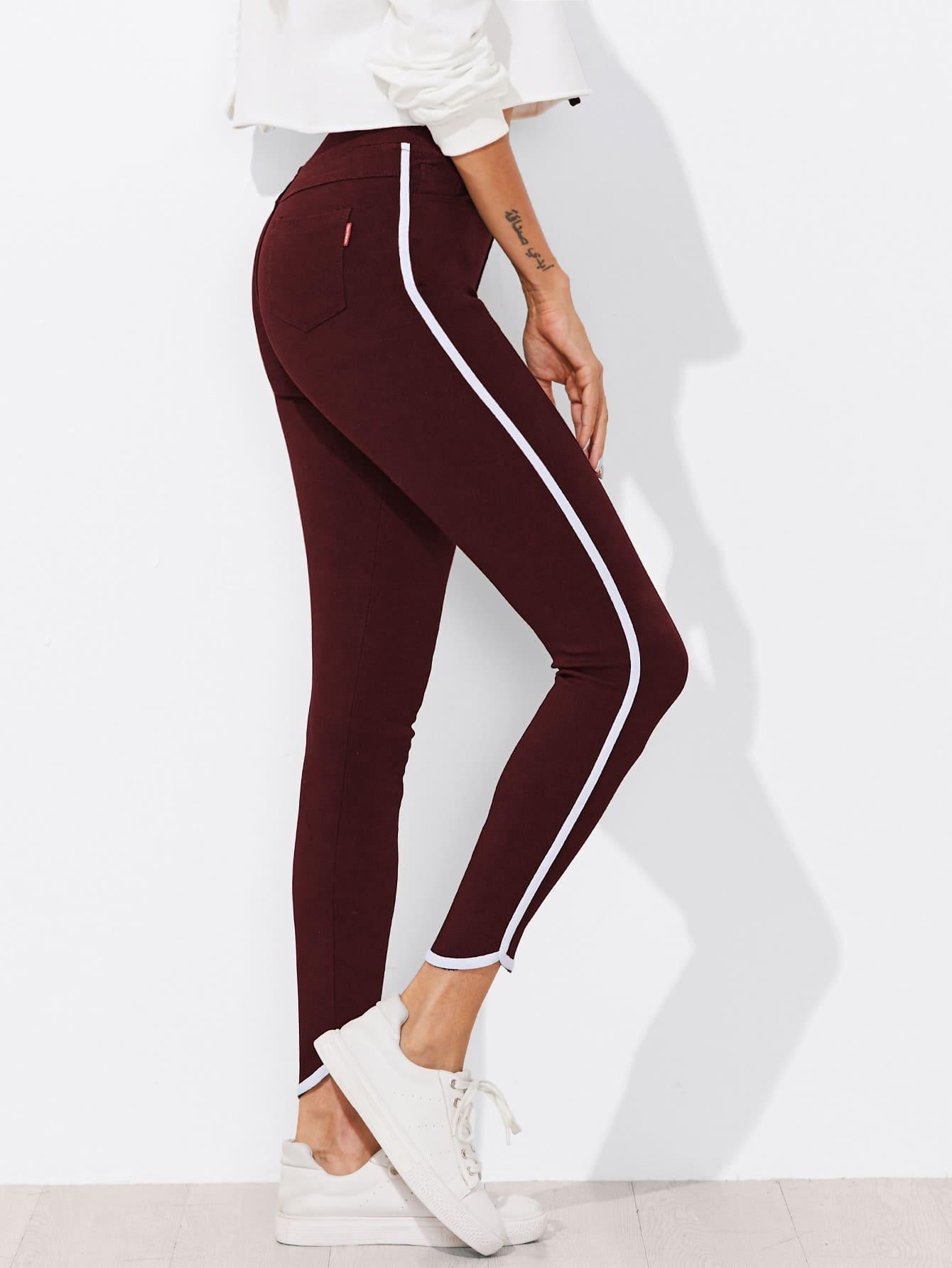 Contrast Trim Skinny Ankle Jeans