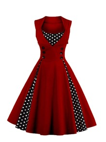 Contrast Polka Dot Foldover Circle Dress