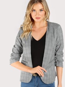 Plaid Print Shirred Sleeve Blazer GREY