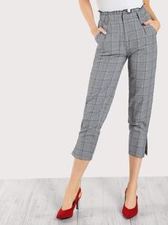 Ruffle Waist Plaid Pleated Capri Pants GREY