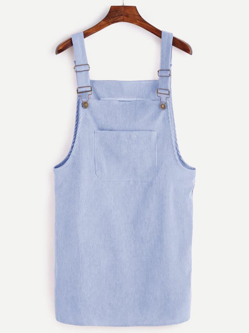 Купить Стиль кэжуал Одноцветный с карманами Синие Платья, null, SheIn
