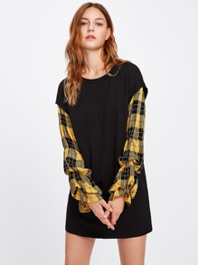 Sweatshirt Dress With Checked Puff Sleeve