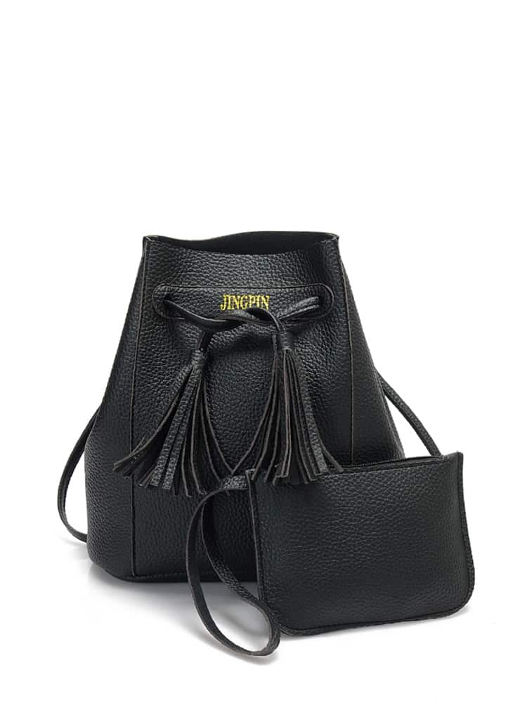 Tassel Drawstring Bucket Bag With Wallet bucket bag with drawstring inner pouch