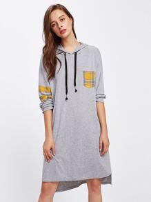Dip Hem Contrast Checked Pocket Sweatshirt Dress