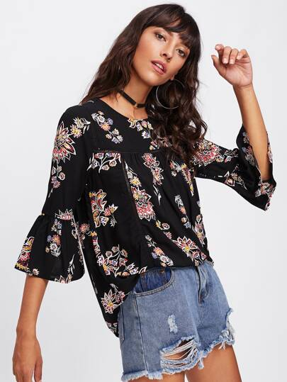 Ladder Laser Cut Insert Trumpet Sleeve Floral Top