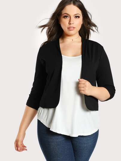Shirred Cuff Stretch Knit Blazer