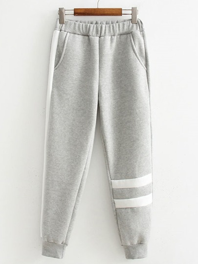 Striped Detail Contrast Tape Sweatpants