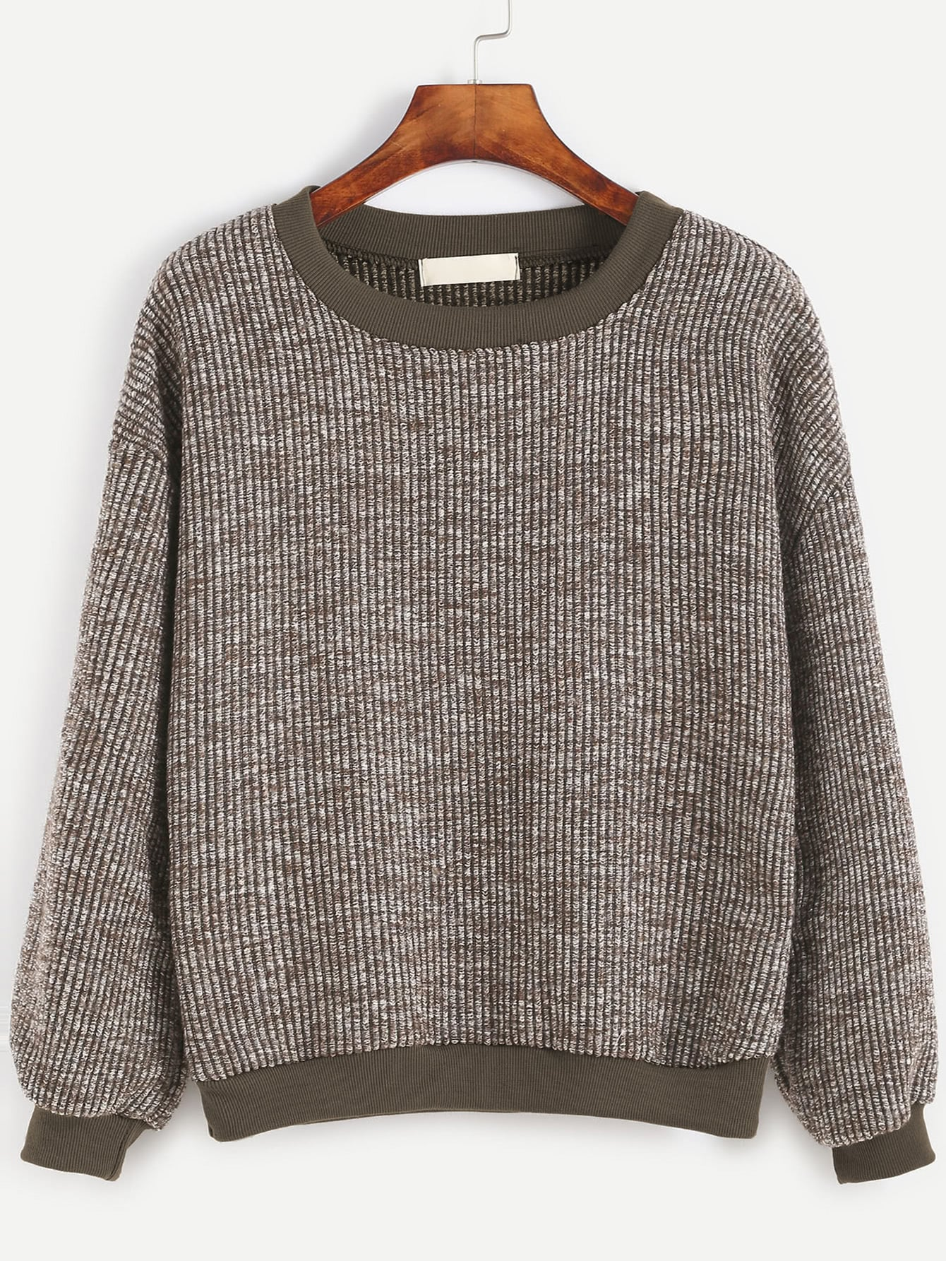 Contrast Trim Ribbed Sweatshirt dark grey ribbed trim drop shoulder lace up sweatshirt