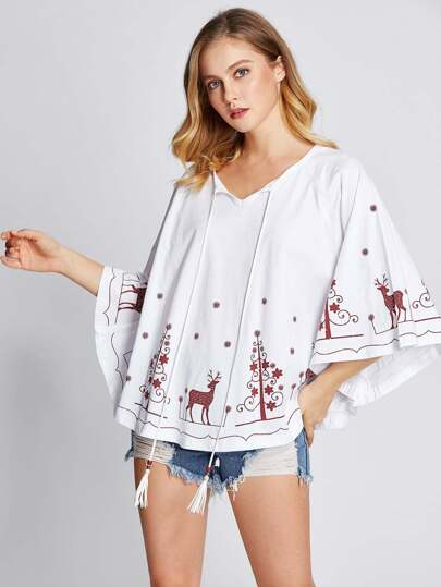 Tassel Tie Neck Raglan Sleeve Poncho Top