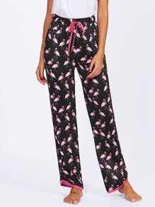 Flamingo Print Drawstring Pajama Pants
