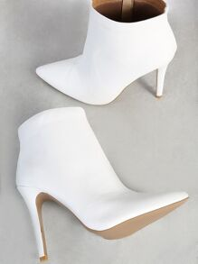 PU Point Toe Heeled Boots WHITE