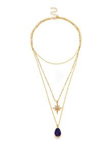 Rhinestone Contrast Pendant Layered Necklace
