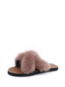 Faux Fur Criss Cross Slippers