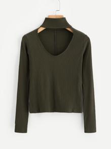 V Cut Choker Ribbed Sweater