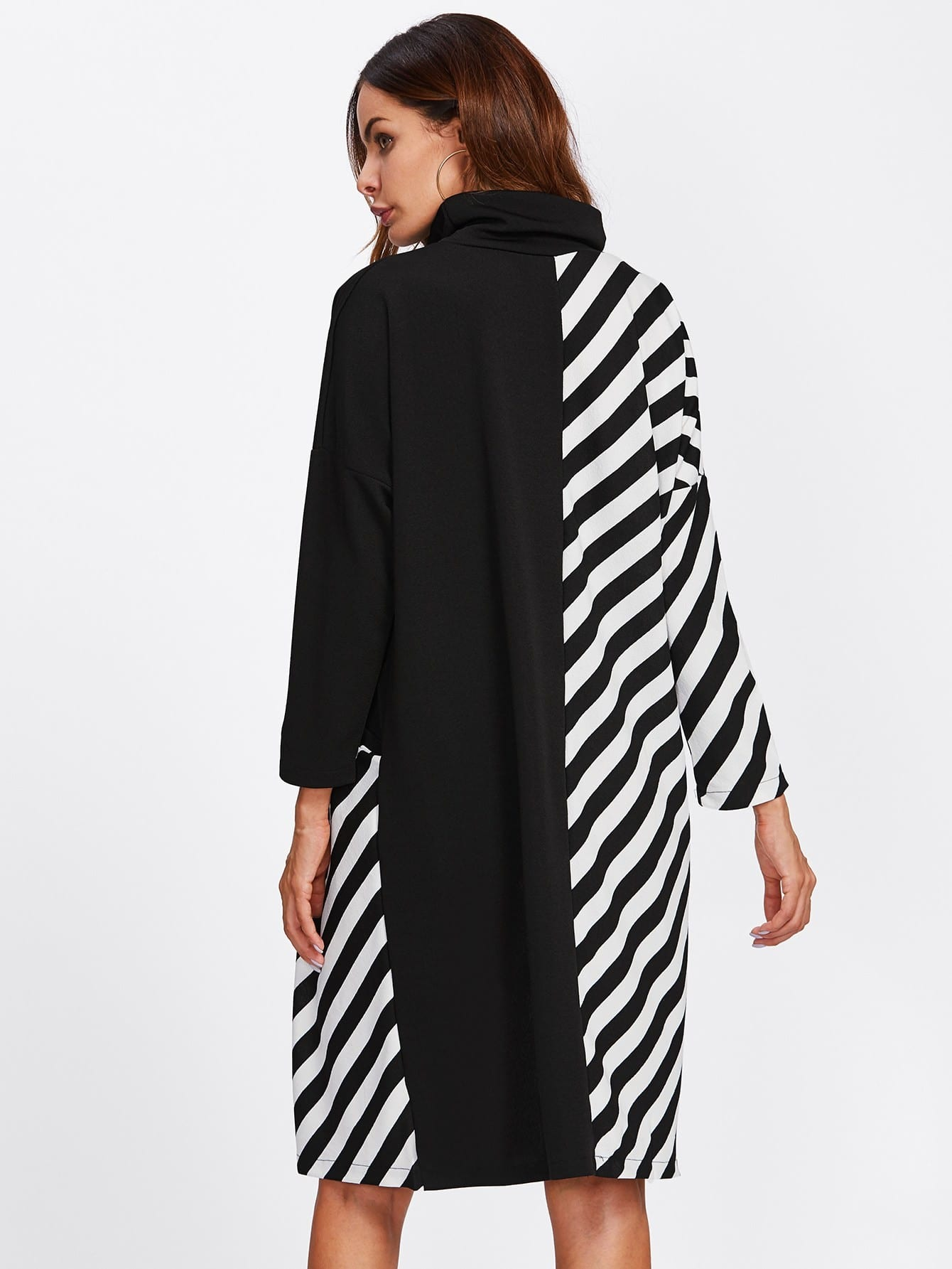 High Neck Contrast Striped Shift Dress