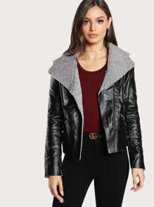 Fleece Lined Asymmetric Zip Biker Jacket
