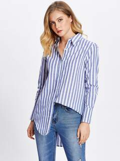 Curved Dip Hem Striped Shirt