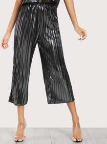 Metallic Pleated Pants SILVER