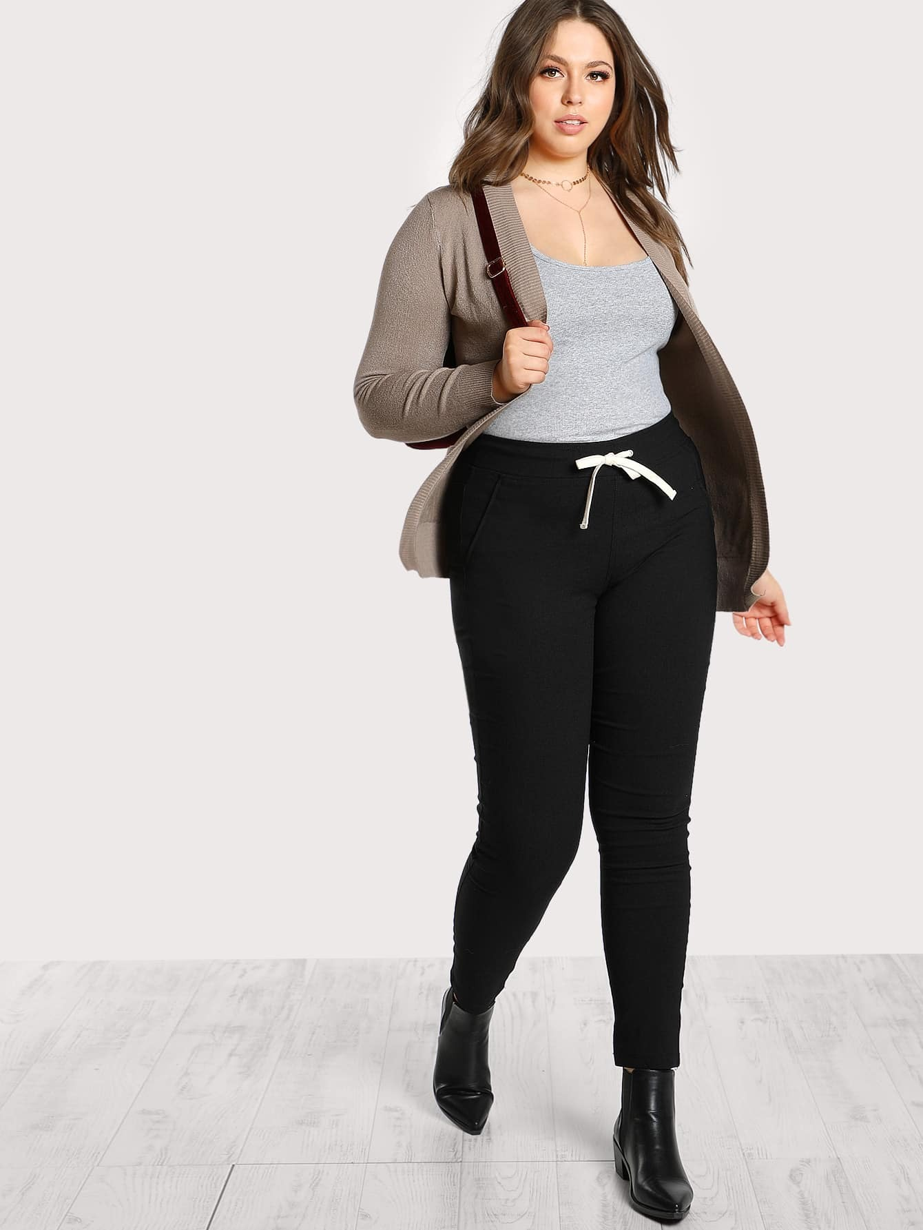 Image of Drawstring Waist Jersey Pants