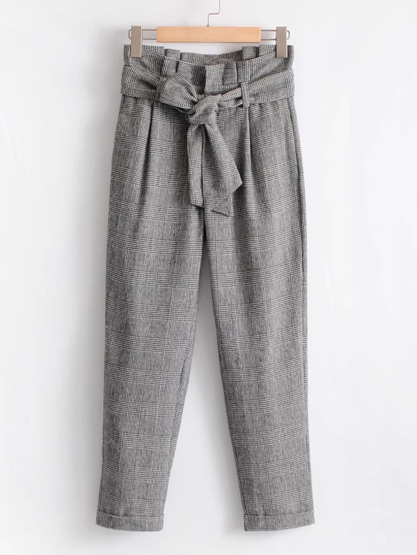 Купить Модные клетчатые брюки с поясом, null, SheIn