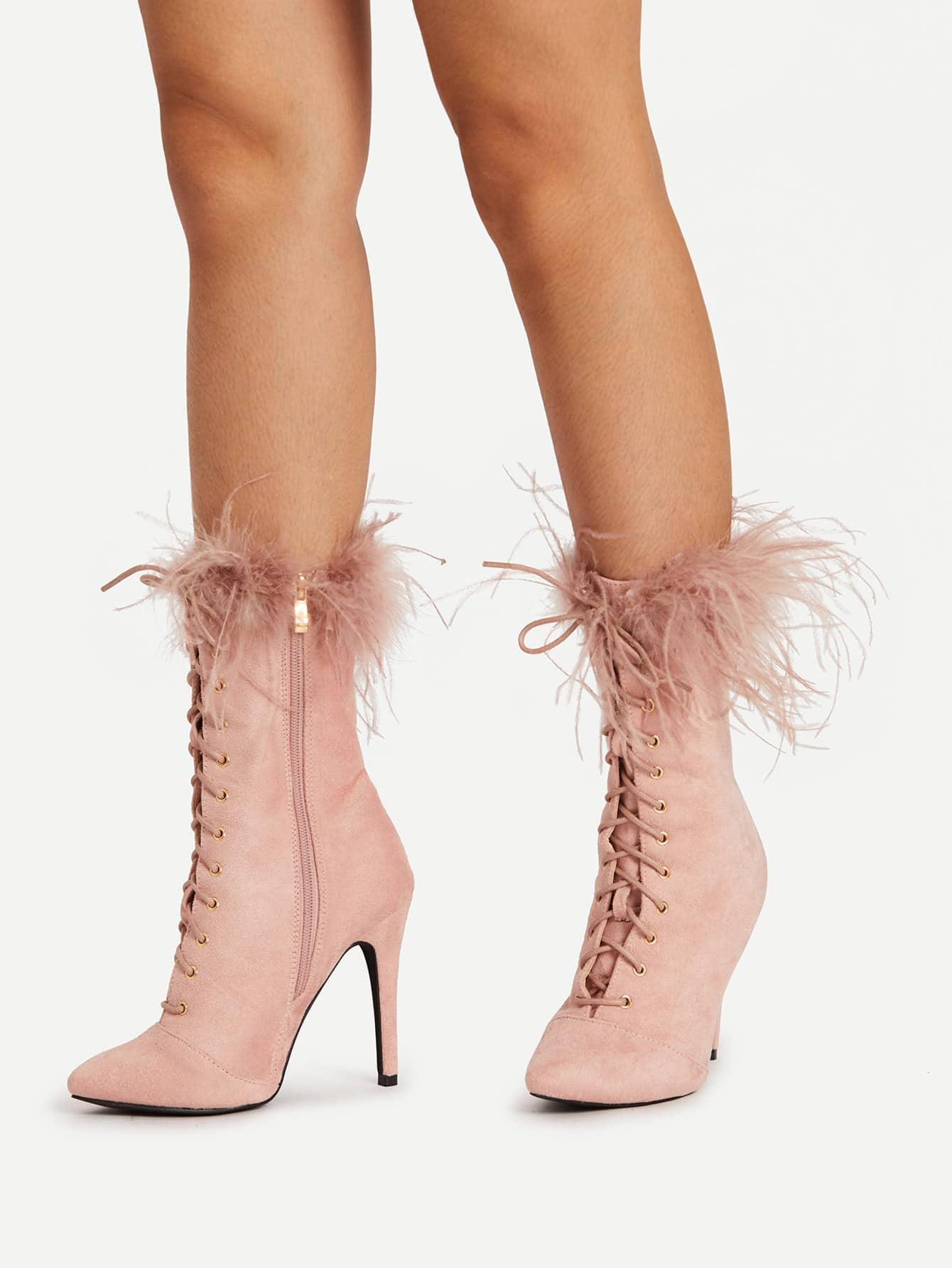 Faux Fur Point Toe Lace Up Ankle Boots shoes17091241