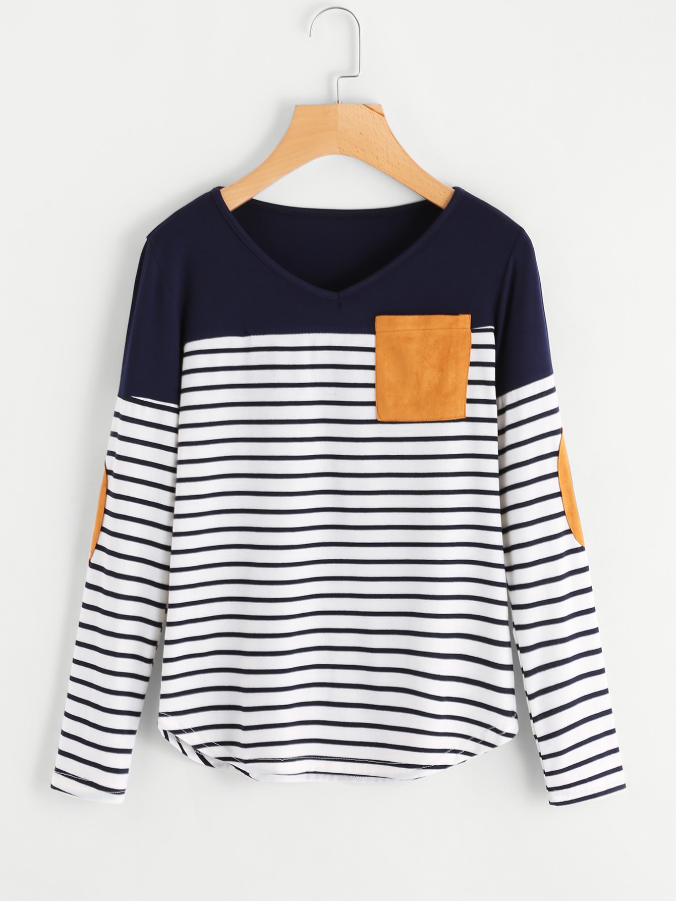 Striped Elbow Patch Curved Hem T-shirt striped elbow patch curved hem t shirt