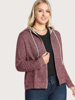 Zip Up Hooded Terry Sweater BURGUNDY