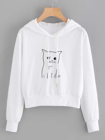 Cat Print Hooded Drawstring Sweatshirt