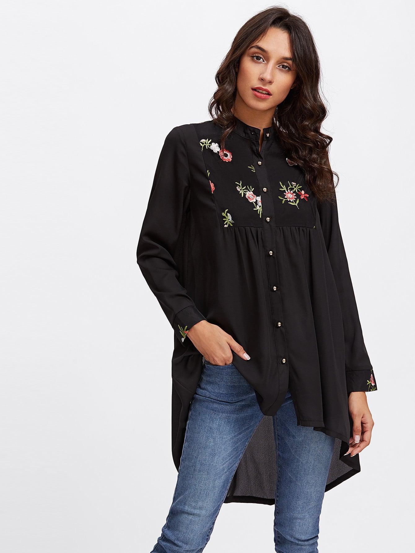 Купить Модная асимметричная рубашка с цветочной вышивкой, Gabi B, SheIn