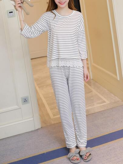 Lace Contrast Horizon Stripe Pajama Set