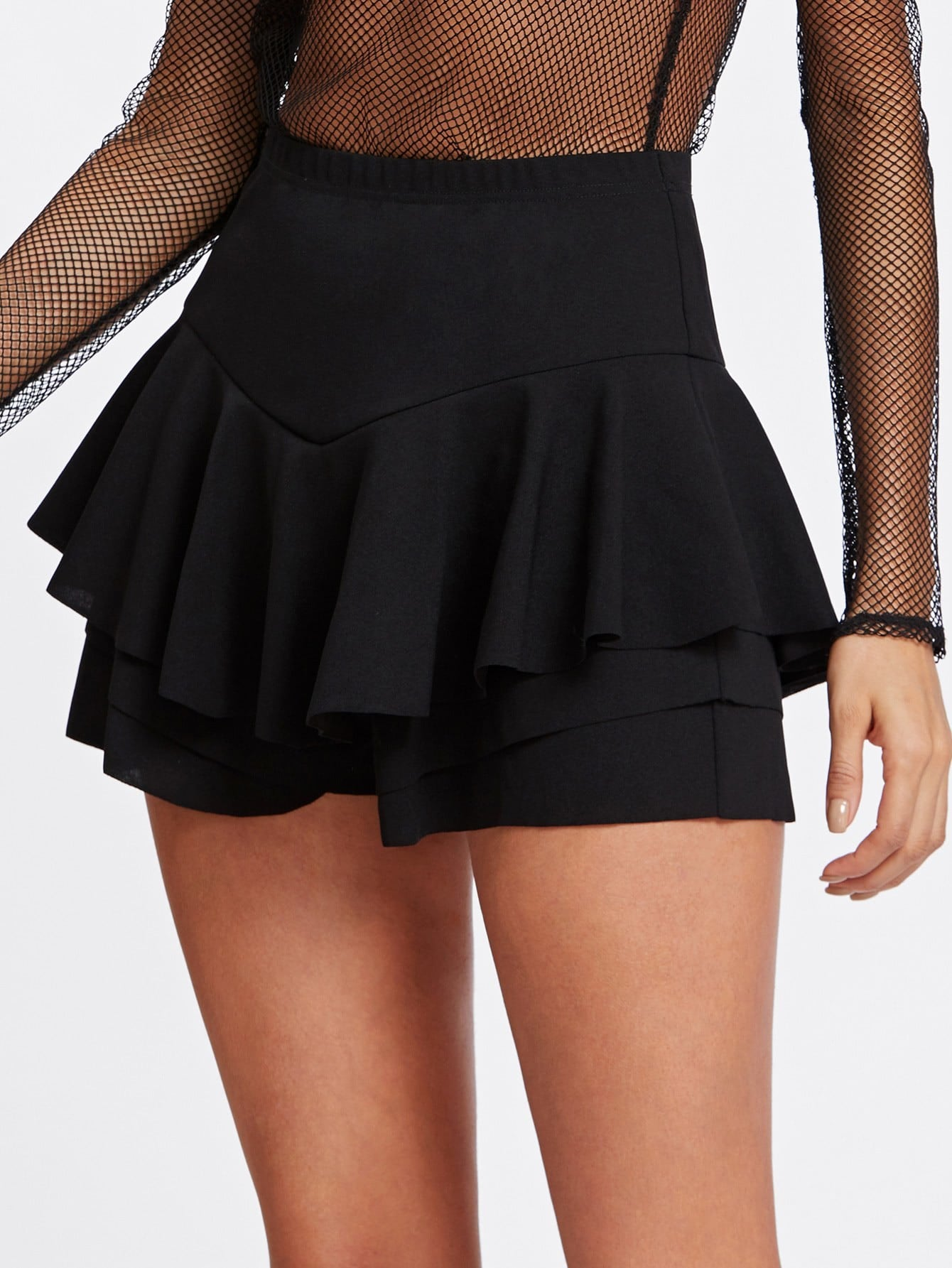 Flounce Layered Skirt Shorts flounce light up cosplay skirt