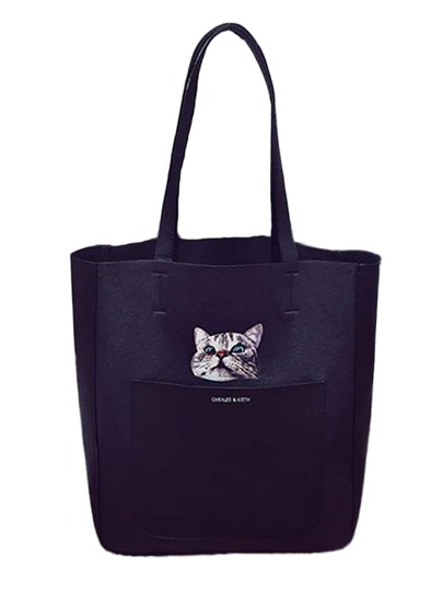 Cat Print Totes Bag With Crossbody Bag